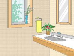 卫生间室内装饰矢量图(83)