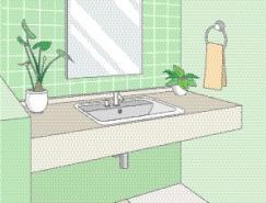 卫生间室内装饰矢量图(85)