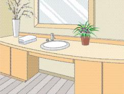 卫生间室内装饰矢量图(86)