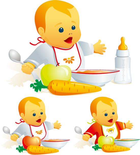 正在用餐的可爱宝宝矢量素材