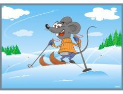 滑雪运动的卡通老鼠矢量素材