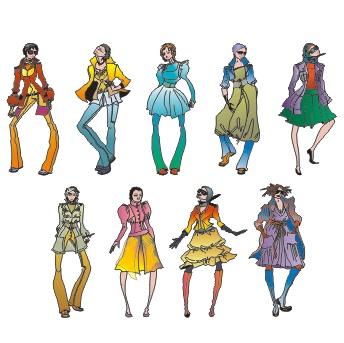 身着亮丽衣服的时尚女孩矢量素材(02)