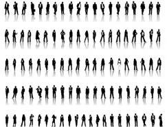 数款白领时尚男女剪影矢量素