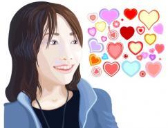 日本女性和爱心图案矢量素材