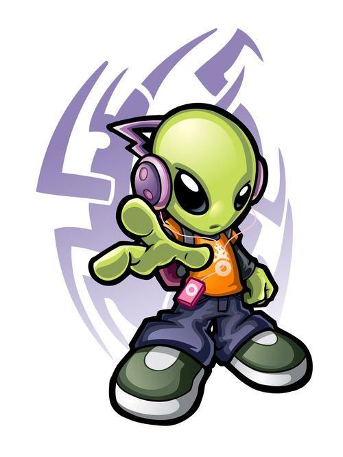 素材/戴耳机的外星人矢量素材...