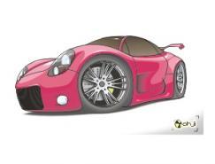 粉红色的跑车矢量素材