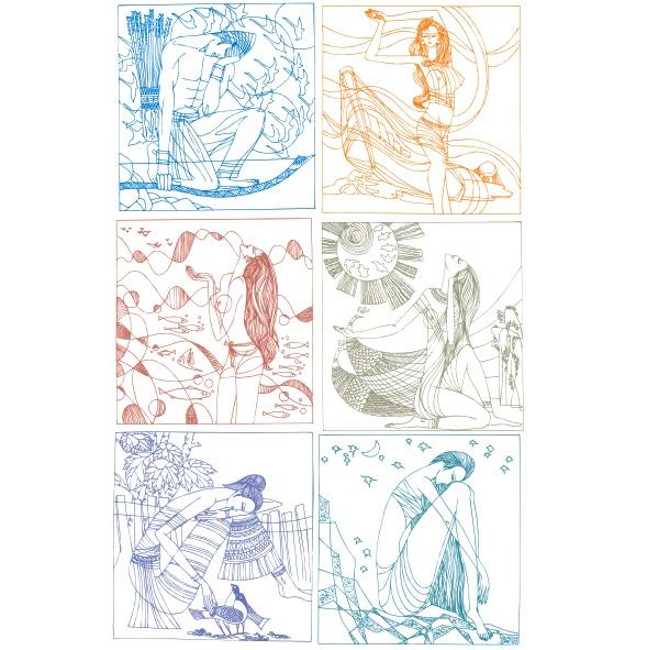 中国古代线描风格女性人物矢量素材(2)