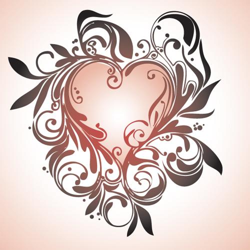 情人节心形花纹矢量素材