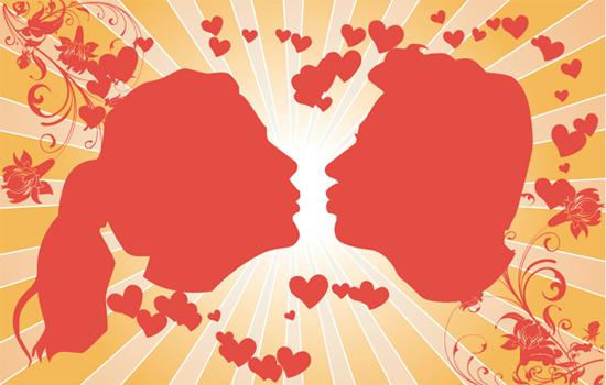 接吻的情侣剪影矢量素材
