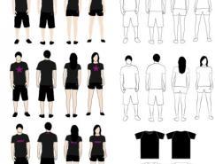 T恤模特矢量素材