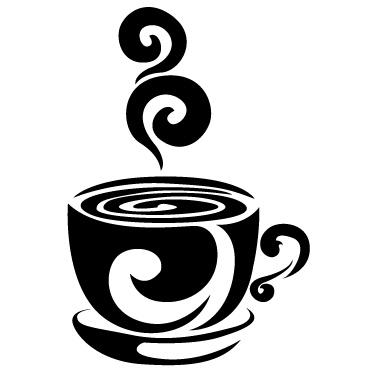 黑白咖啡杯剪影矢量素材