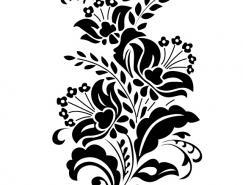 黑白花朵剪影矢量素材