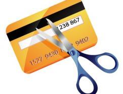 信用卡和剪刀矢量素材