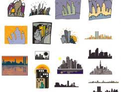 城市高楼剪影矢量素材