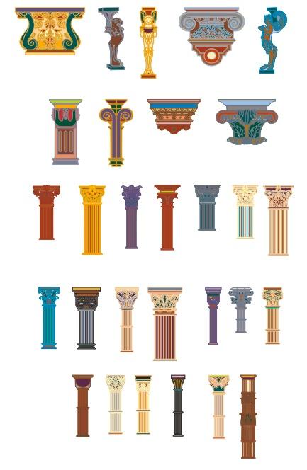 百款各种柱子矢量素材