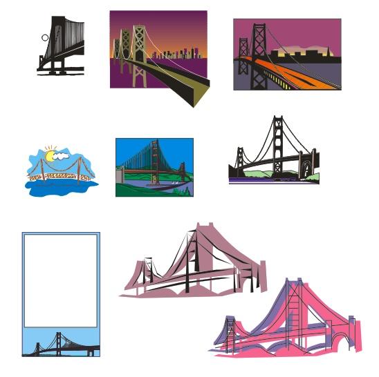 美国金门大桥异端图纸rg金色素材矢量图片