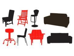椅子和沙發矢量素材
