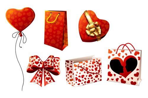关键字:情人节矢量素材,心形背景的手提袋,心形礼盒,心形图案蝴蝶结