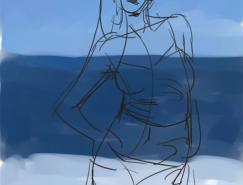 汉王+0806绘图板教程之绘制性感海滩美眉
