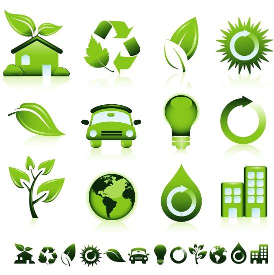 矢量素材,矢量图标,房子,树叶,绿色回收标志,汽车,灯泡,地球,水滴