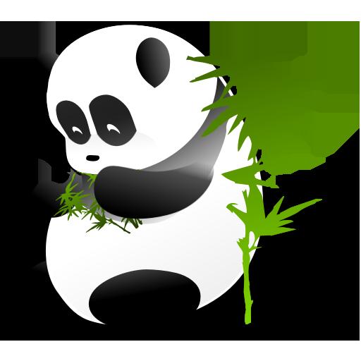 可爱熊猫和竹子png图标