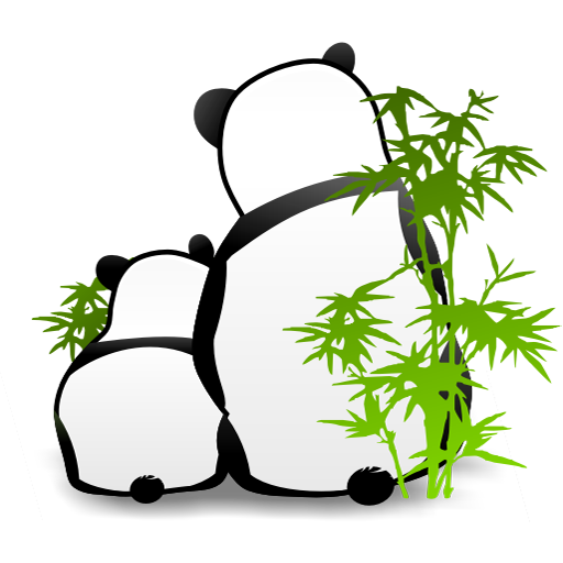 可爱熊猫和竹子png图标 512x512