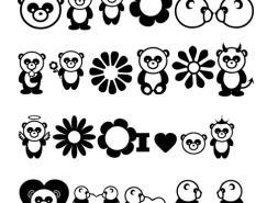 可爱熊猫矢量素材