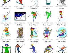 体育项目:滑雪运动矢量素
