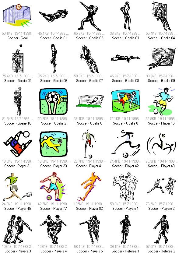 关键字:体育运动矢量素材, 足球运动, 足球运动员剪影, EPS格式