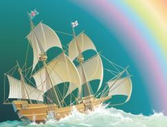 4款帆船矢量素材