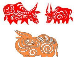 春节矢量素材:牛年剪纸