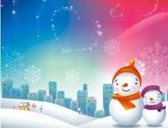 闪亮心形雪花背景的雪人矢量素材