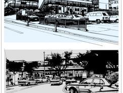 线描城市风景矢量素材(01)