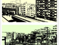 线描城市风景矢量素材(02)