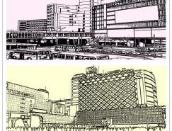 线描城市风景矢量素材(03)