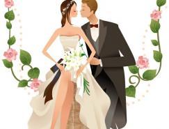 甜蜜的新郎、新娘矢量素材