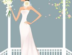 美丽的婚纱新娘矢量素材(17)