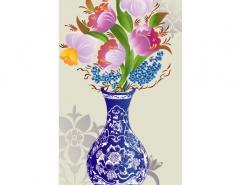 青花瓷瓶矢量素材