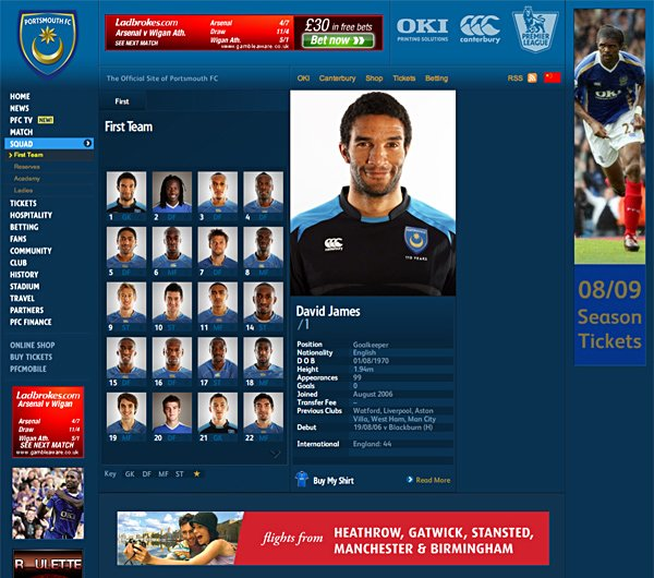 portsmouth足球俱乐部网站设计