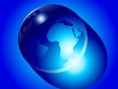 水晶地球矢量素材