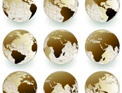 9个不同角度的地球矢量素材
