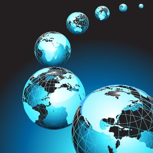 蓝色背景的地球矢量素材