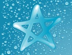 五角星和逼真水珠矢量素材