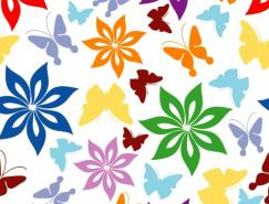 蝴蝶花紋背景矢量素材