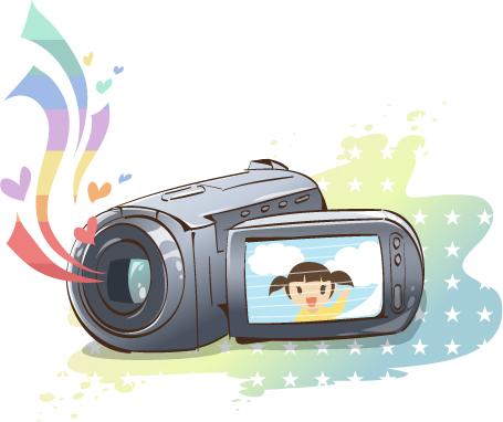 韩国卡通电器物件:摄像机矢量素材