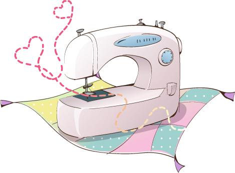 韩国卡通电器物件:缝纫机矢量素材