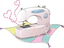 韩国卡通电器物件:缝纫机矢量