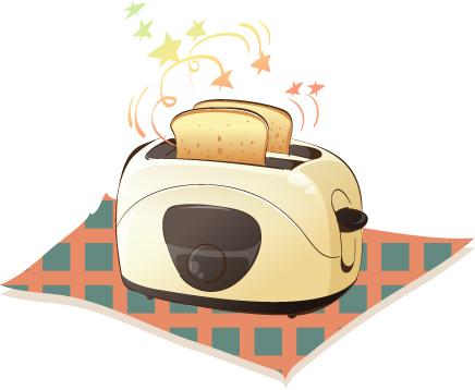 韩国卡通电器物件:烤面包机矢量素材