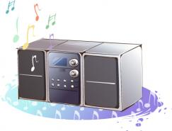 韩国卡通电器物件:音响矢量素材
