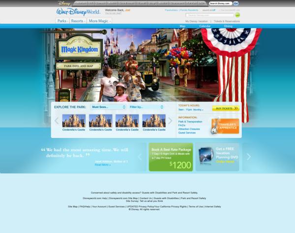 迪斯尼乐园(Disneyworld)网站设计欣赏